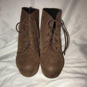 Brown platform booties